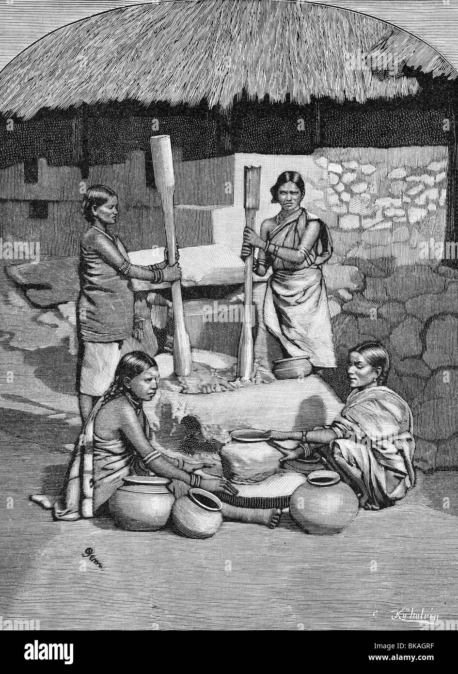 geography / travel, India, women in Kota making pots, wood engraving, circa 1890, Additional-Rights-Clearances-NA - Stock Image
