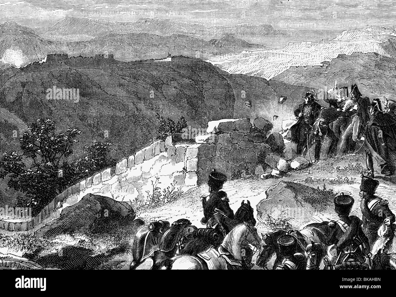 Masséna, André, 6.5.1756 - 14.4.1817, French general, before the Lines of torres Vedras, 1810, wood engraving, - Stock Image