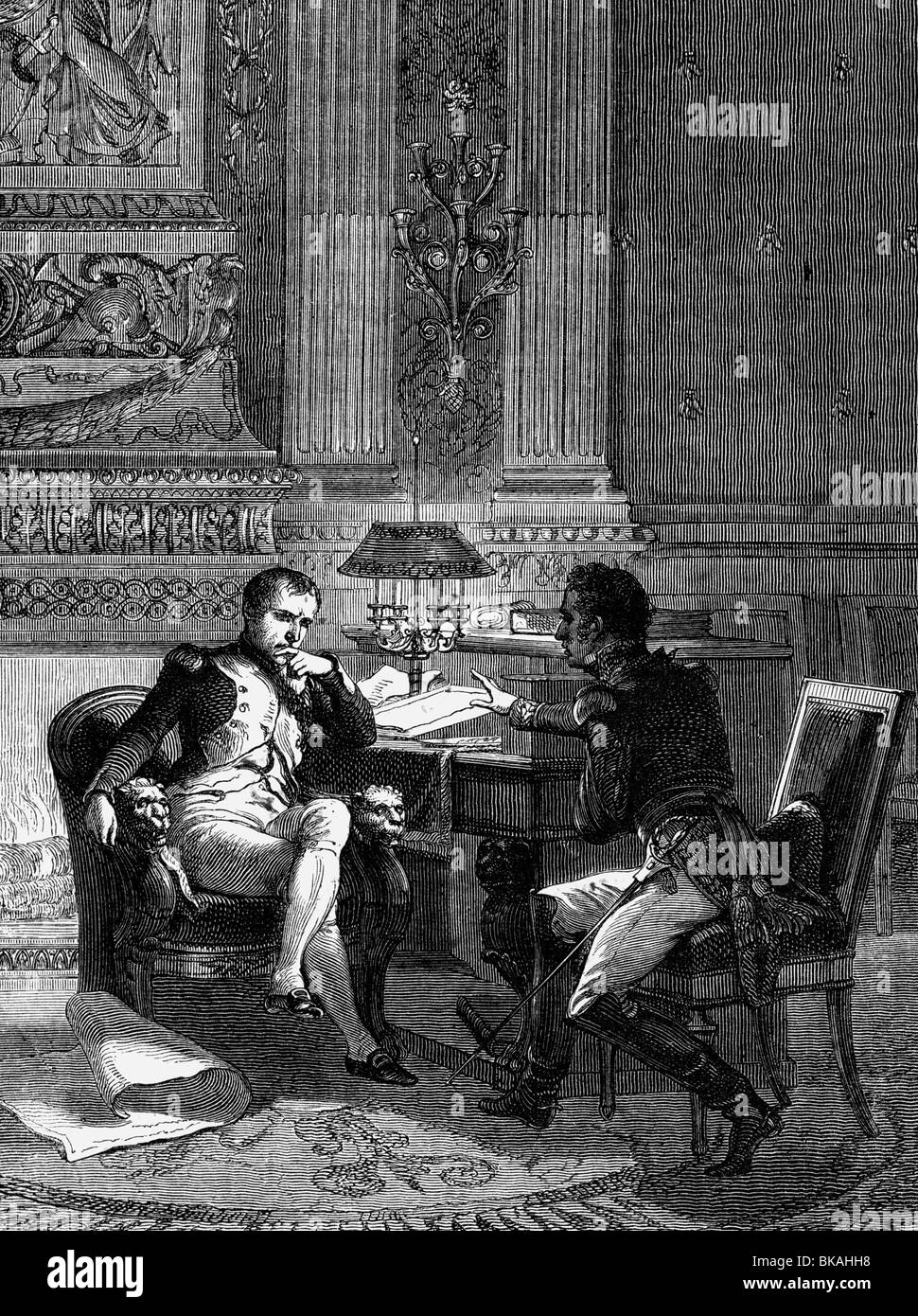 Foy, Maximilien Sebastien, 3.2.1775 - 28.11.1825, French general, reporting to Emperor Napoleon I about the situation - Stock Image