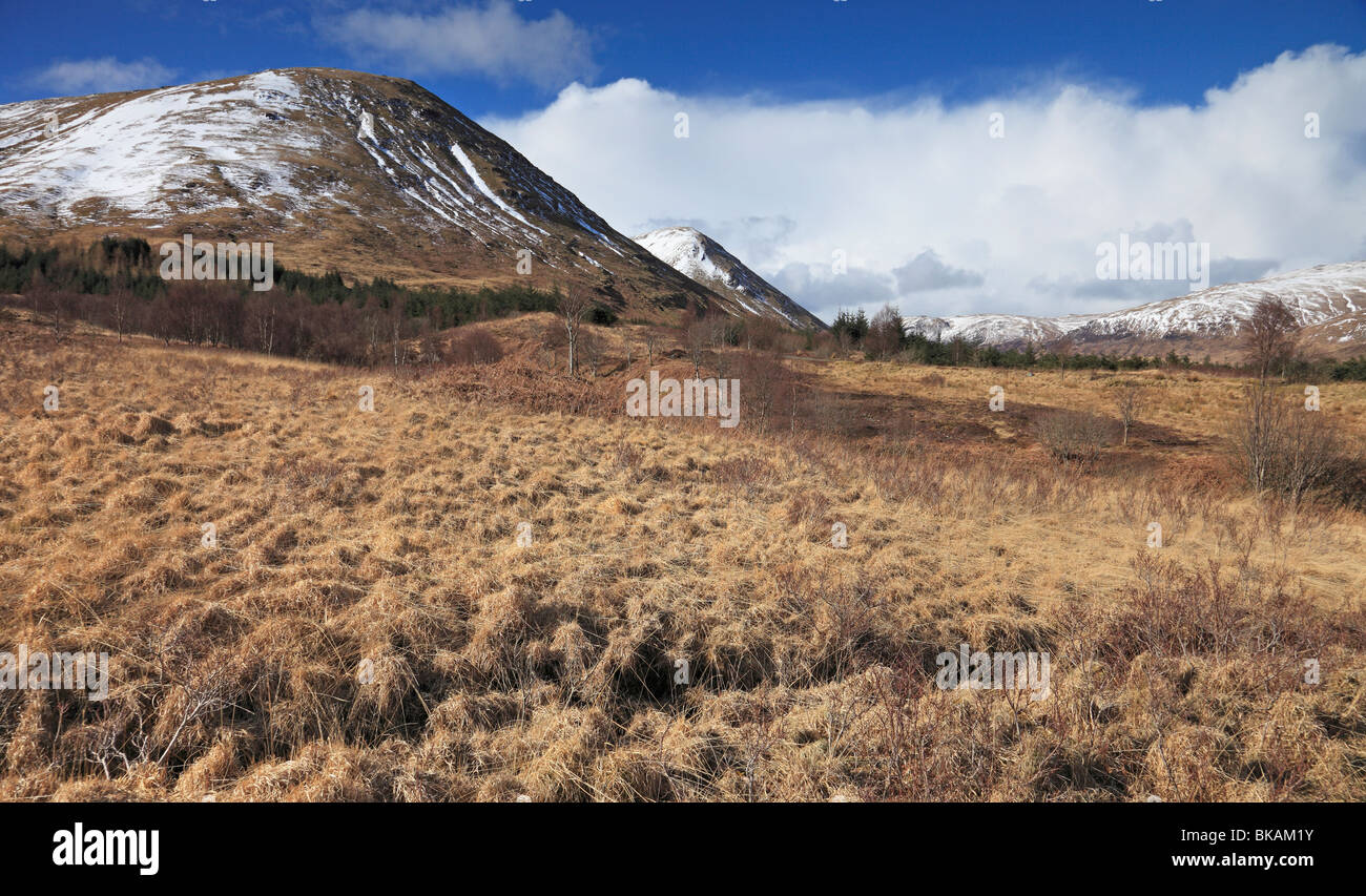 Snow capped Ben More in Glen More, Isle of Mull, Western Isles, Scotland - Stock Image