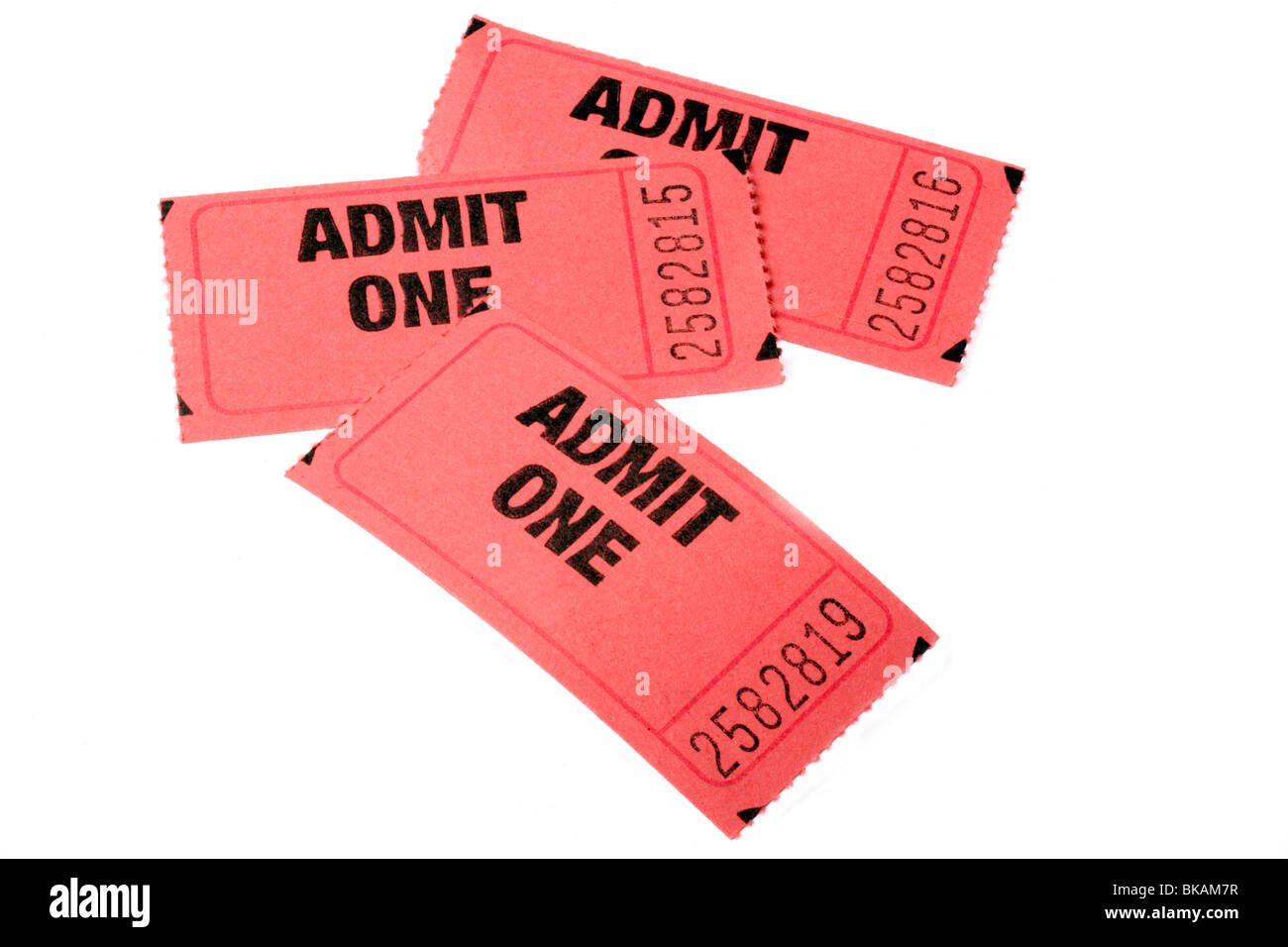 Three Admission tickets - Stock Image