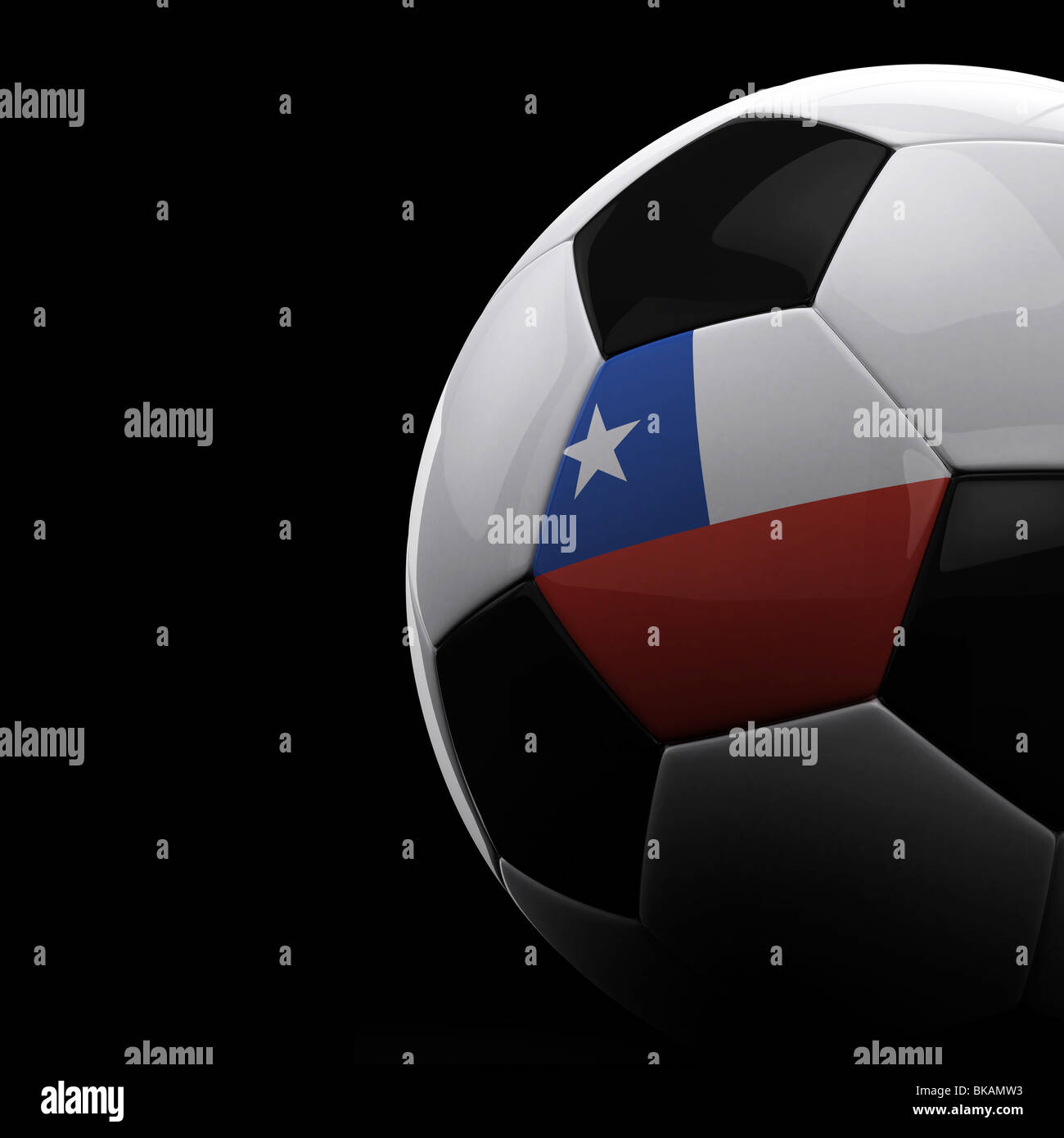 Chilean soccer ball on black background - Stock Image