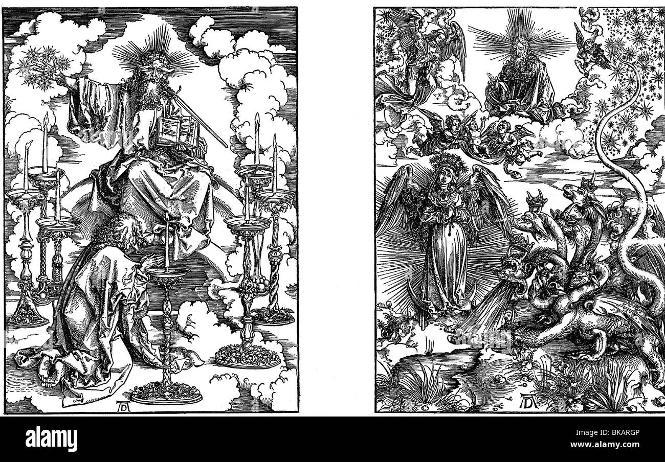religion, Christianity, apocalypse, woodcuts, 1st and 9th sheet by Albrecht Dürer, 1498, Artist's Copyright - Stock Image