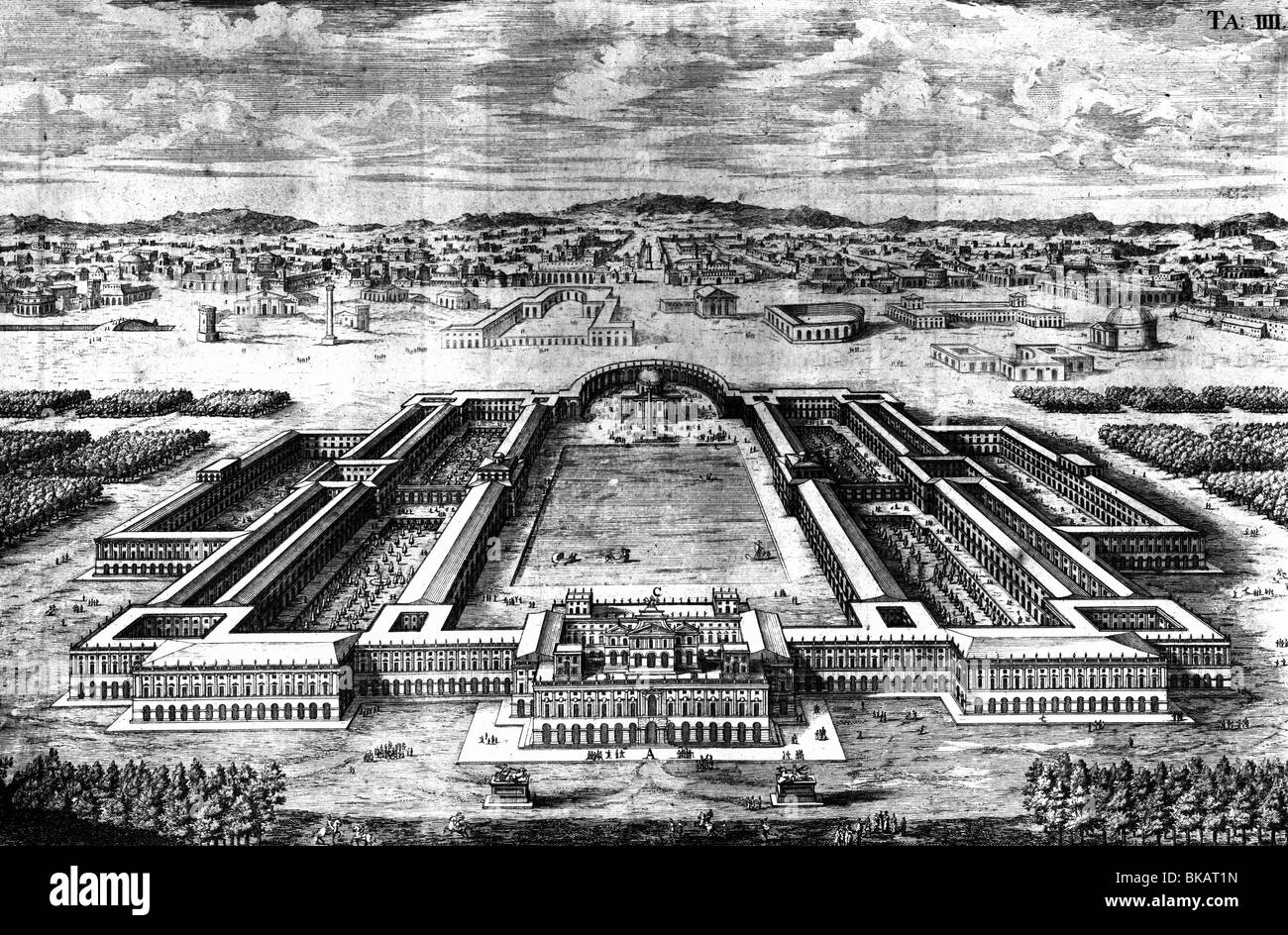geography / travel, Italy, Rome, palace 'Domus Aurea' of Emperor Nero, planned palace, reconstruction by - Stock Image