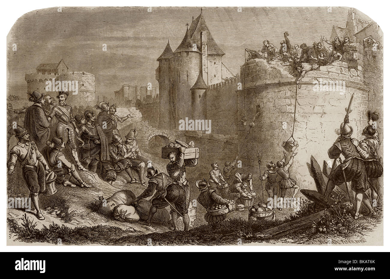 In 1590, during the siege of Paris, King Henry IV of France made release  some peasants and distributed them some money.