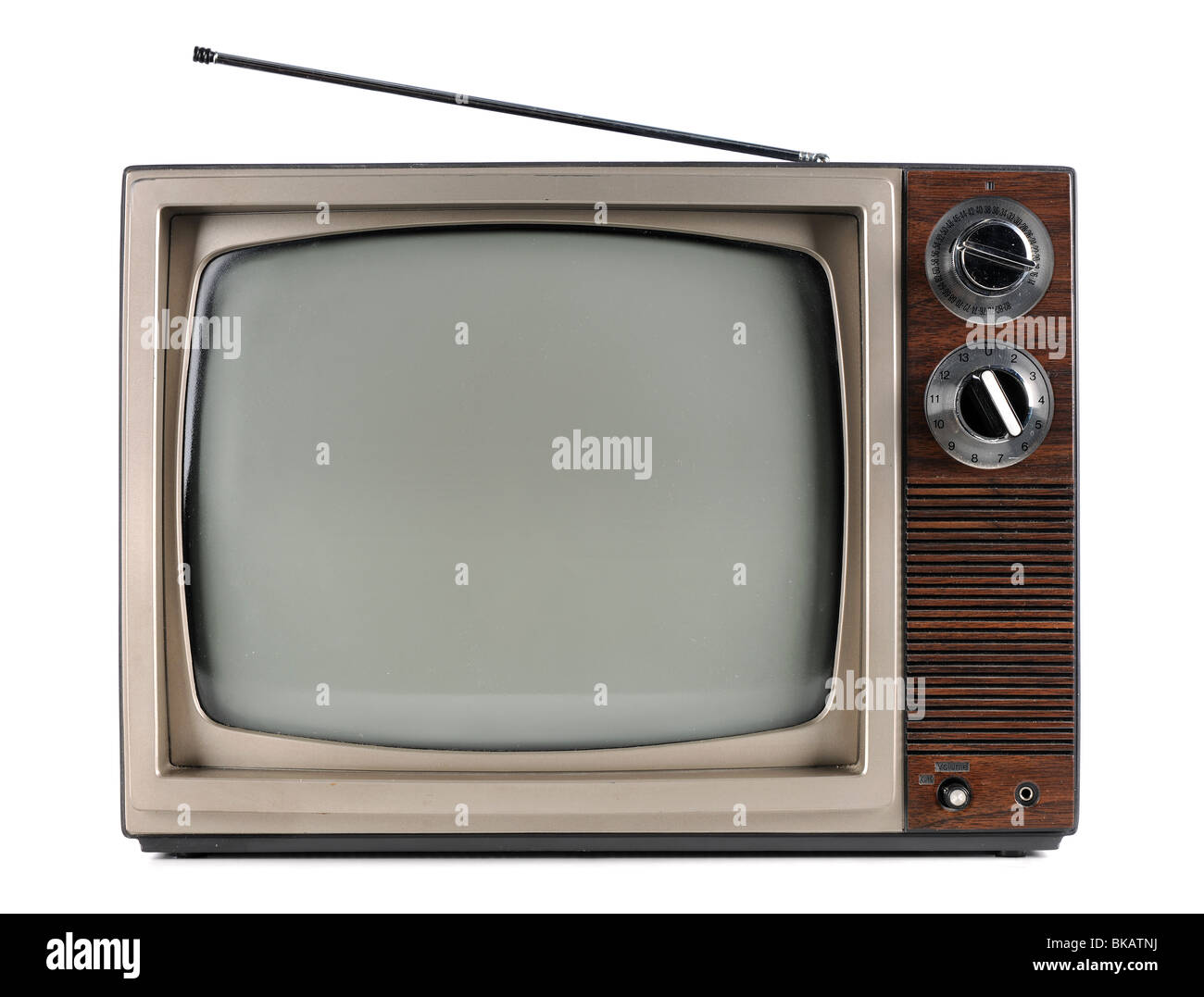 Vintage television with antenna isolated over white background - With clipping path - Stock Image