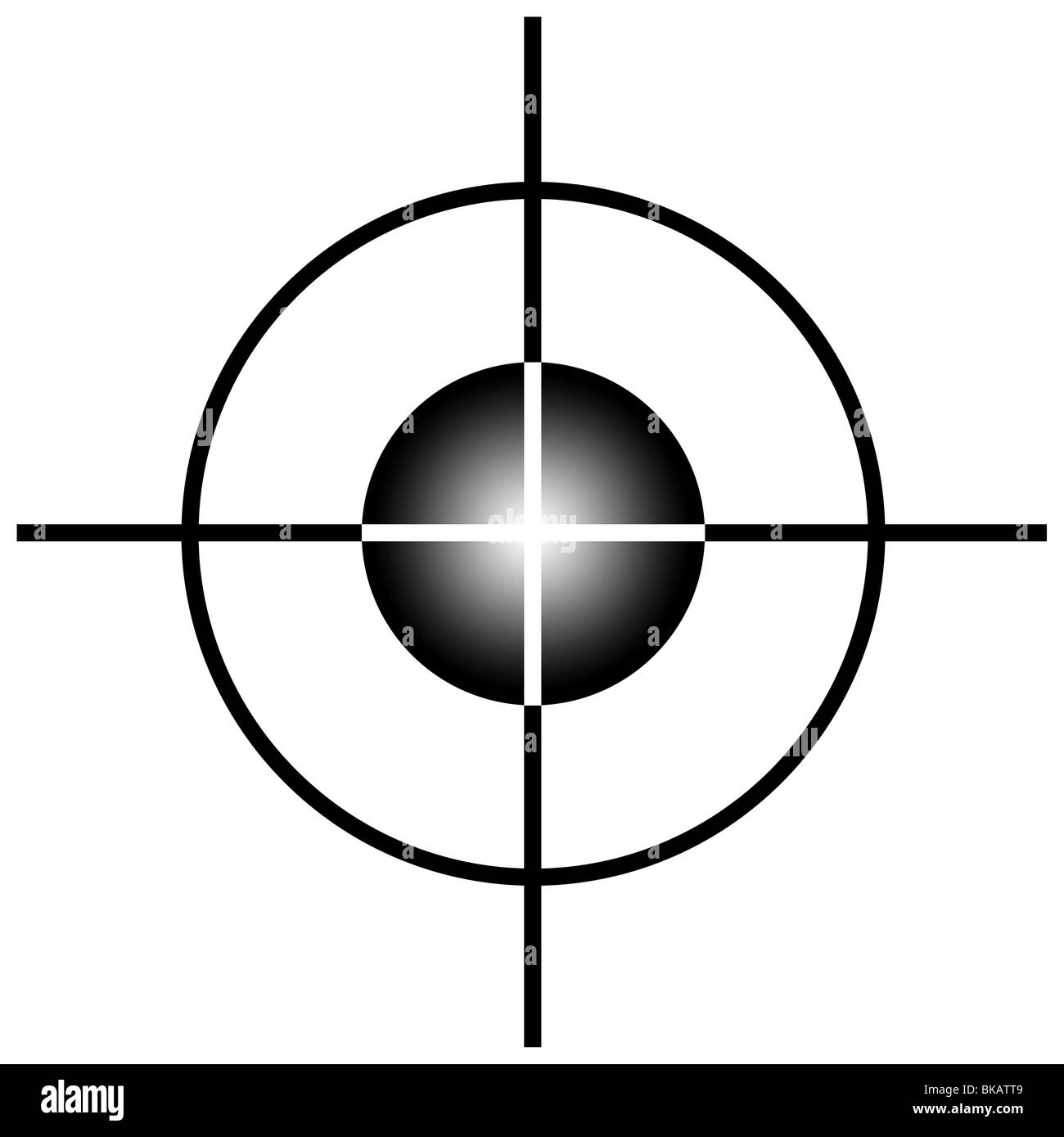 Sniper target scope or sight, isolated on white background. - Stock Image