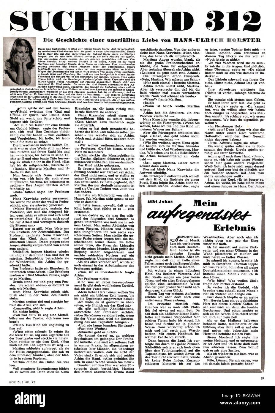 "literature, ""Suchkind 312"", serialized novel by Hans-Ulrich Horster, in ""Hör Zu"" magazine, number 52, 1954, Stock Photo"