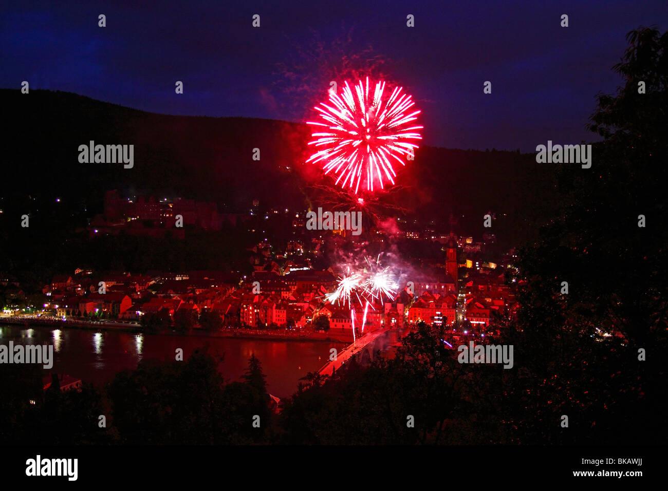 Heidelberg Germany fireworks - Stock Image