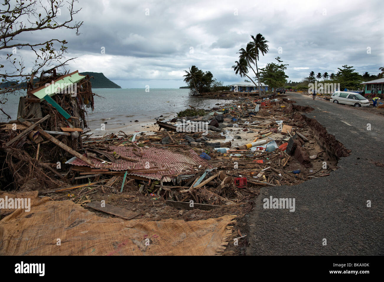 Shoreline and building destruction from 2009 tsunami, Aleipata, Upolu island, Samoa - Stock Image