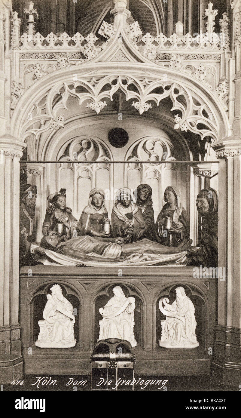 geography / travel, Germany, Cologne, churches, Cathedral, interior view, Entombment of Christ, picture postcard, - Stock Image