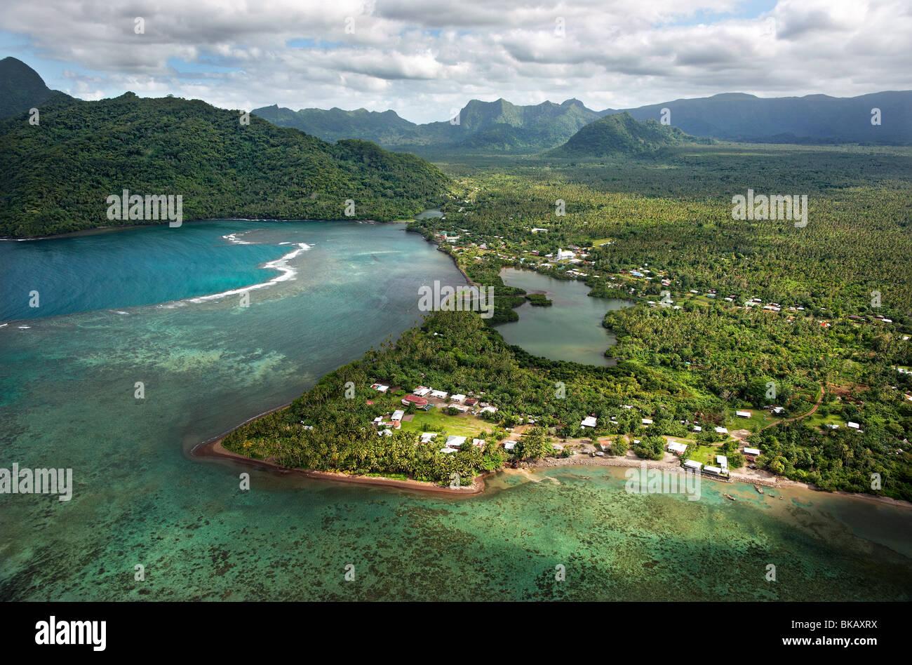 Aerial view, Falefa Bay and village, Upolu, Samoa - Stock Image