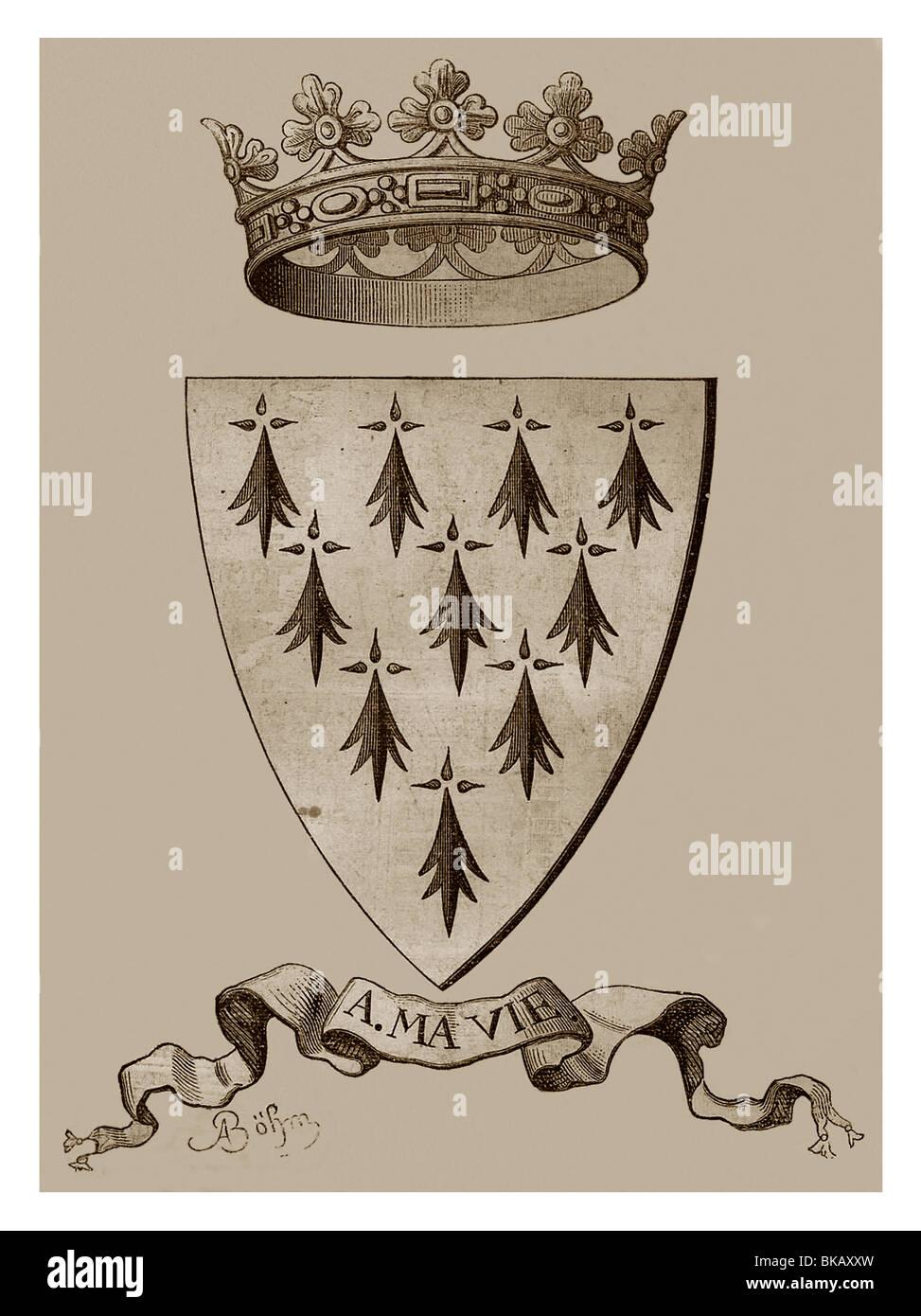 Arms of Anne of Brittany (1477-1514). - Histoire Populaire de la France, Tome Deuxième Ch. Lahure's Publication, Stock Photo