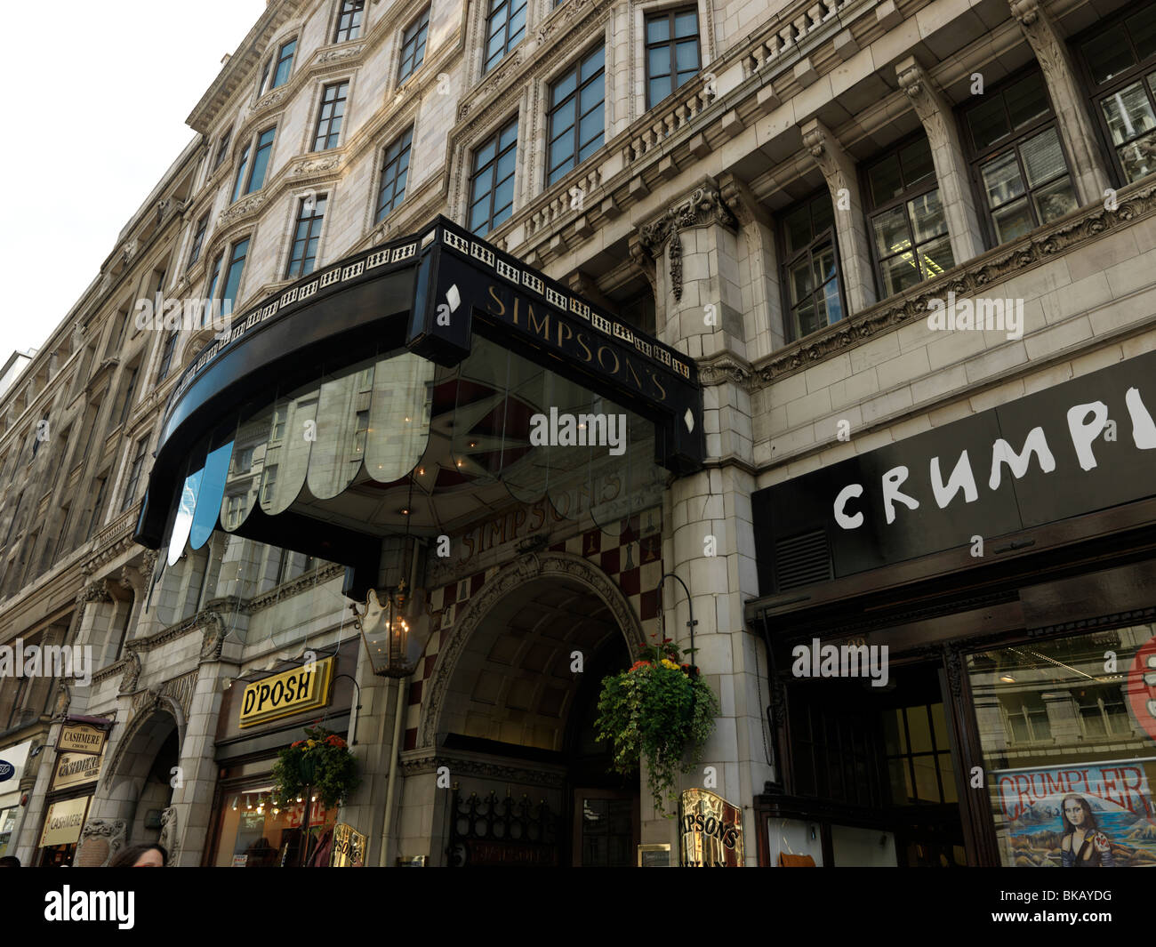 London England Strand Simpson's Restaurant And Shops - Stock Image