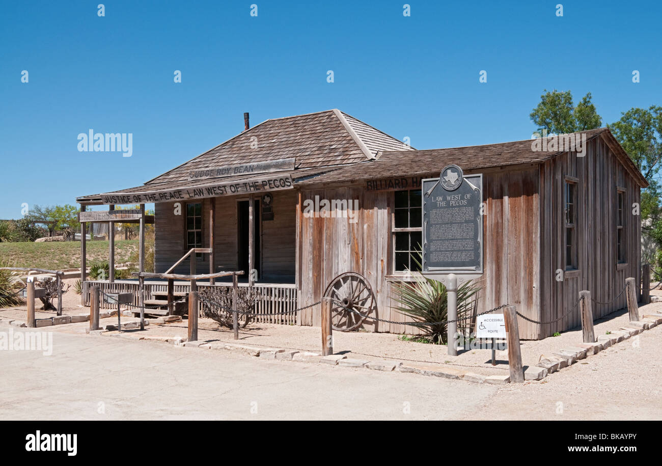 Texas, Langtry, Judge Roy Bean Visitor Center, The Jersey Lilly Saloon, original building and site - Stock Image
