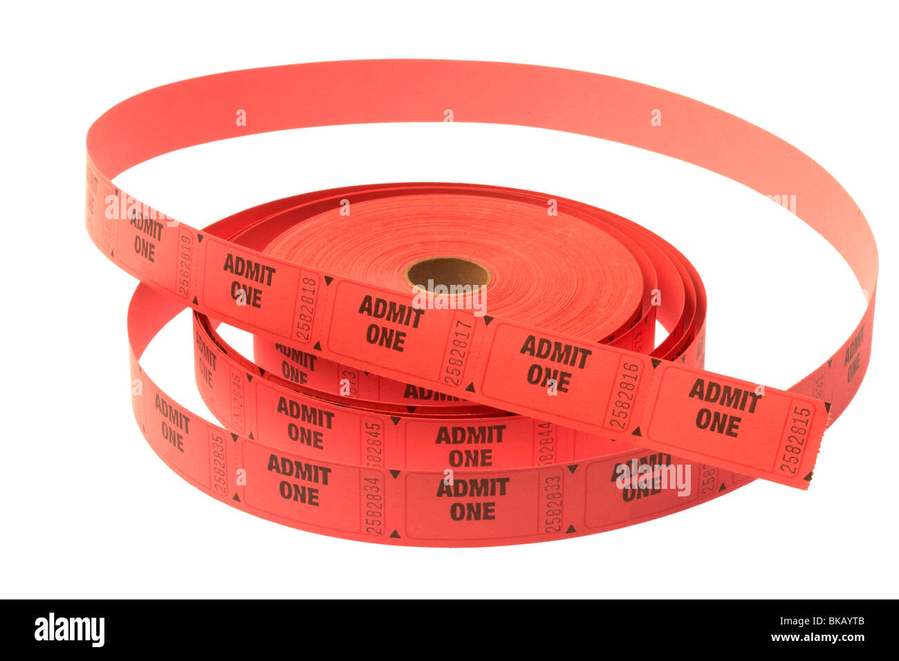 coil of paper admission tickets - Stock Image