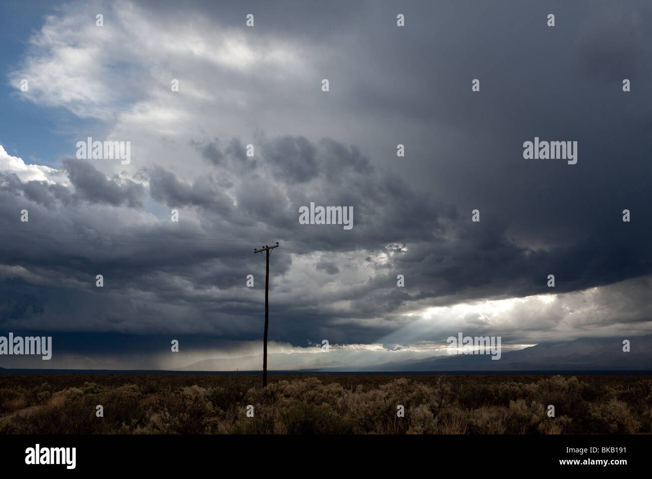 Big storm in Mendoza, Argentina, near the Andes Mountains in route 40. - Stock Image