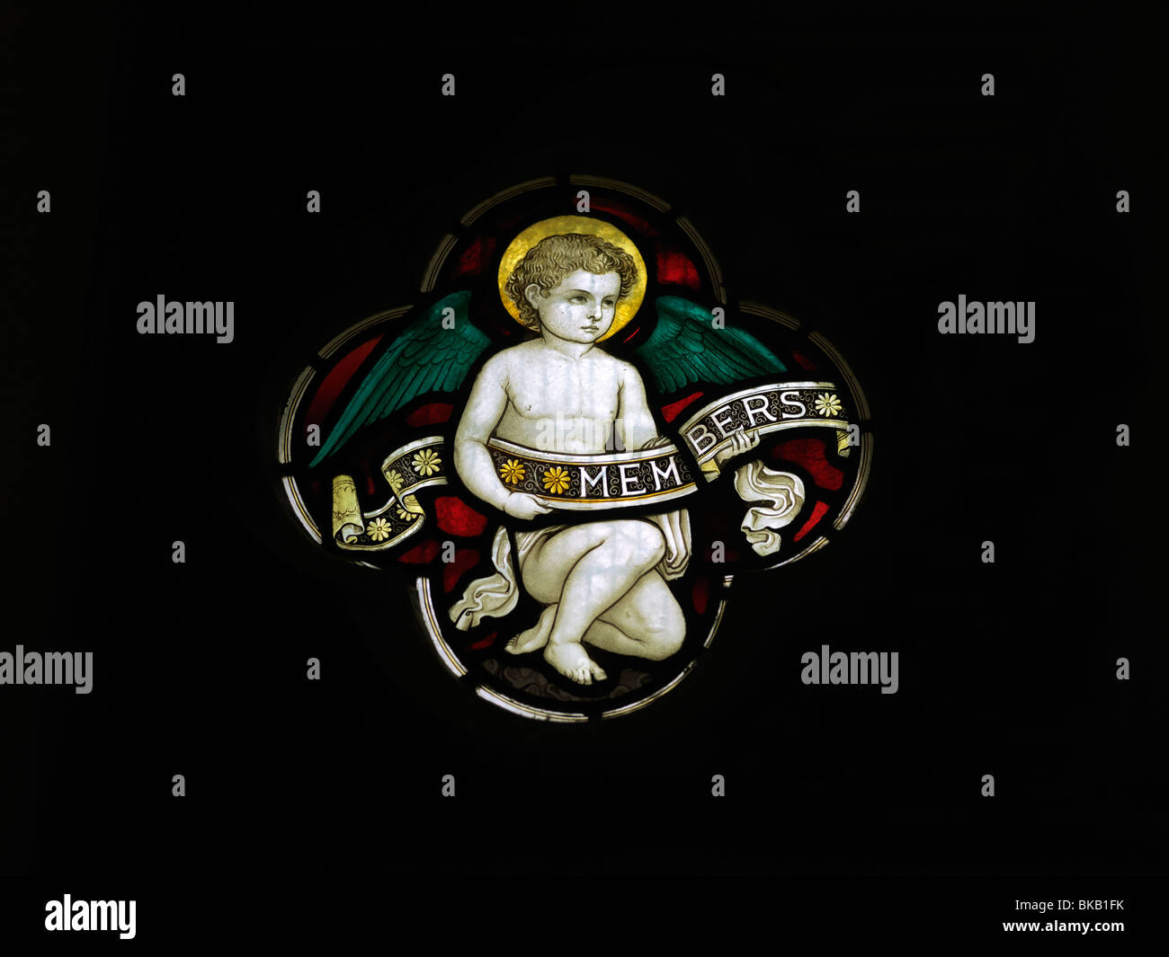 Angel Stained Glass Window Christ Church Epsom Surrey England - Stock Image