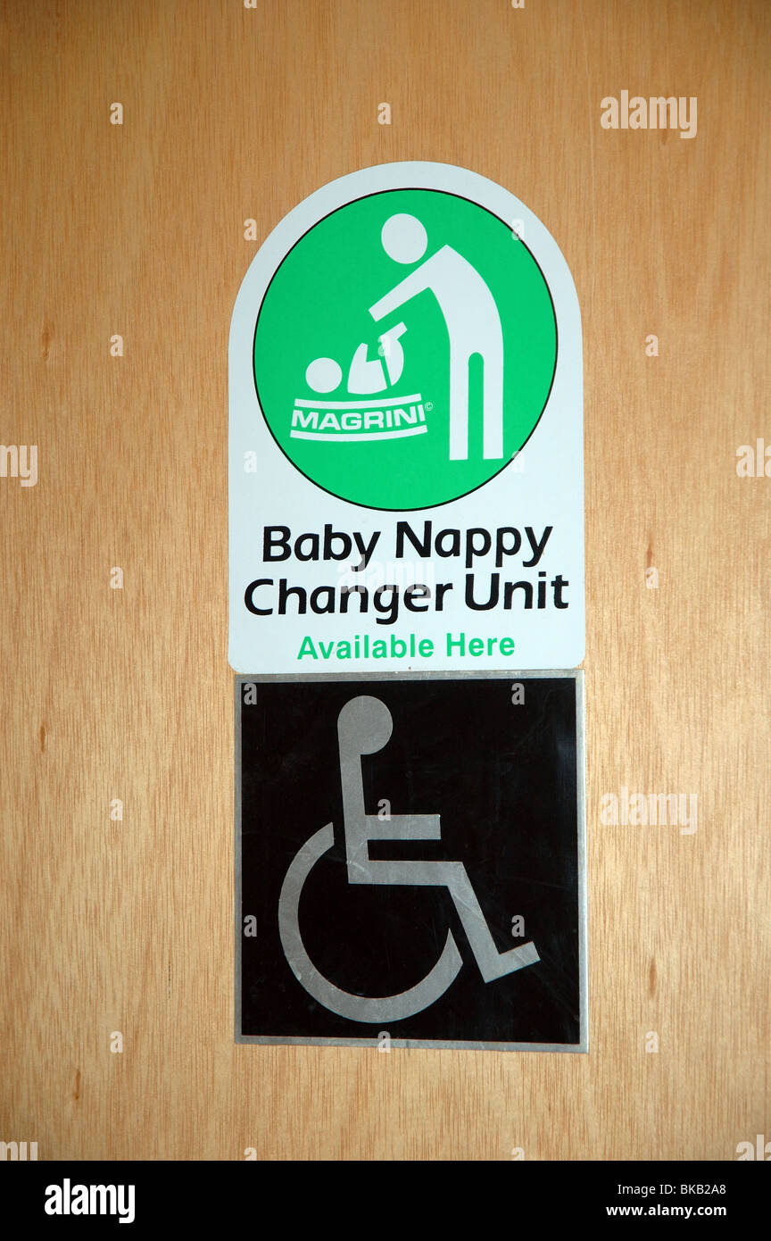 Sign For Disabled Toilet And Baby Nappy Changing Facilities England UK