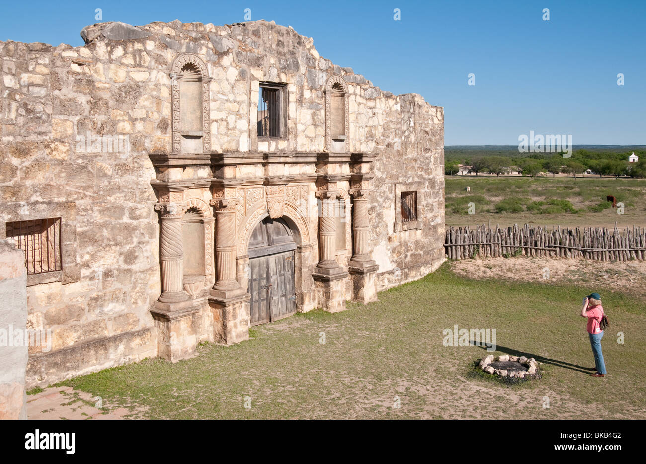 Texas, Hill Country, Brackettville, Alamo Village, movie location since 1951, Alamo Church Replica Stock Photo