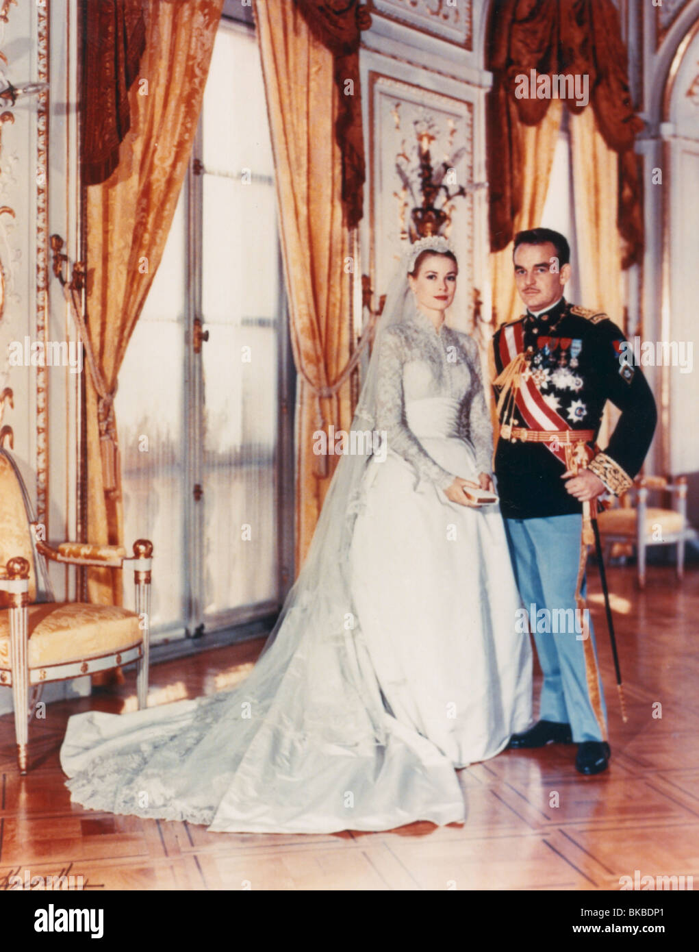 GRACE KELLY PORTRAIT WITH HUSBAND, PRINCE RAINIER OF MONACO GKLY 001 - Stock Image