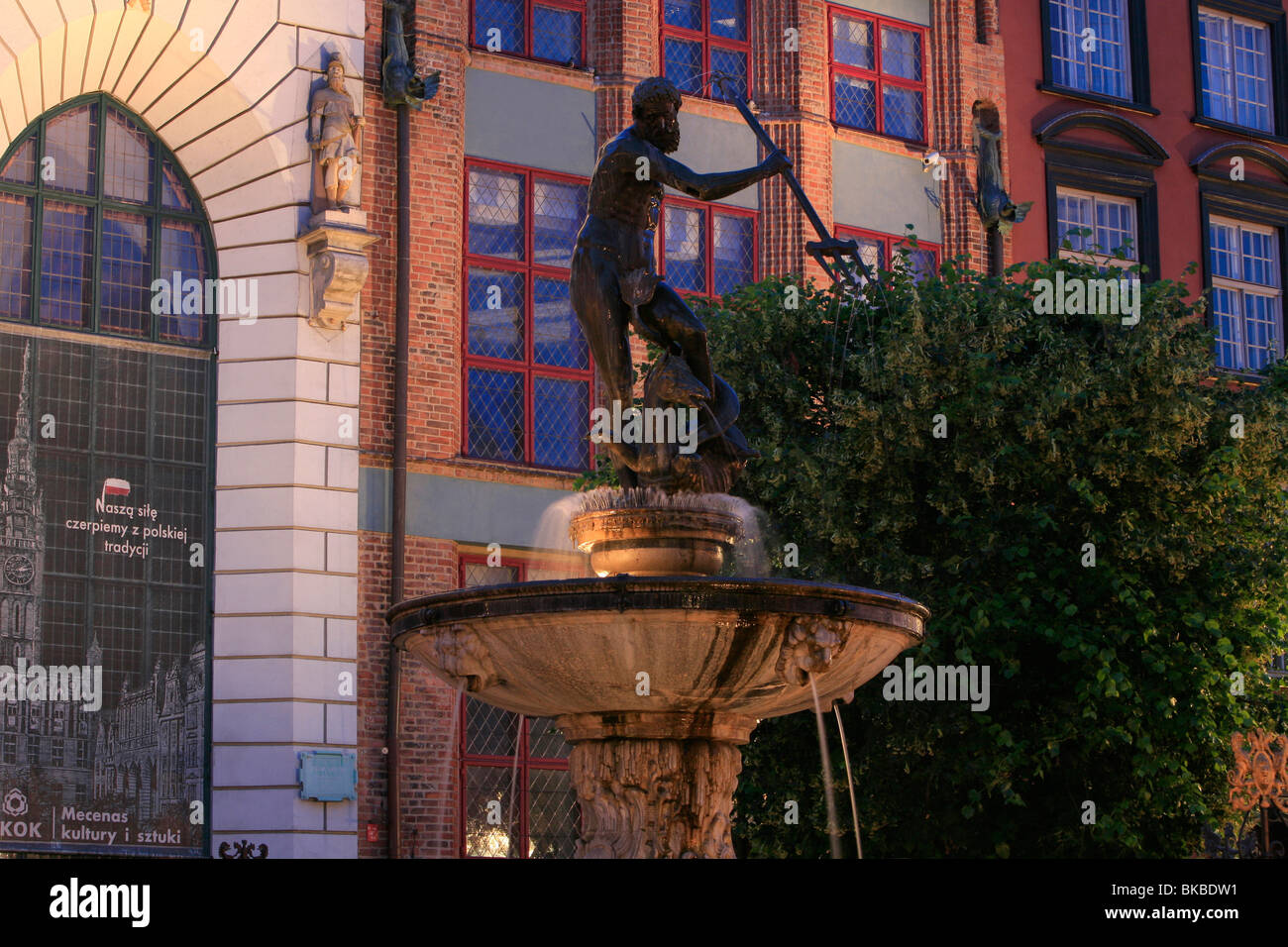 Neptune's Fountain at Long Market in Gdansk, Poland Stock Photo