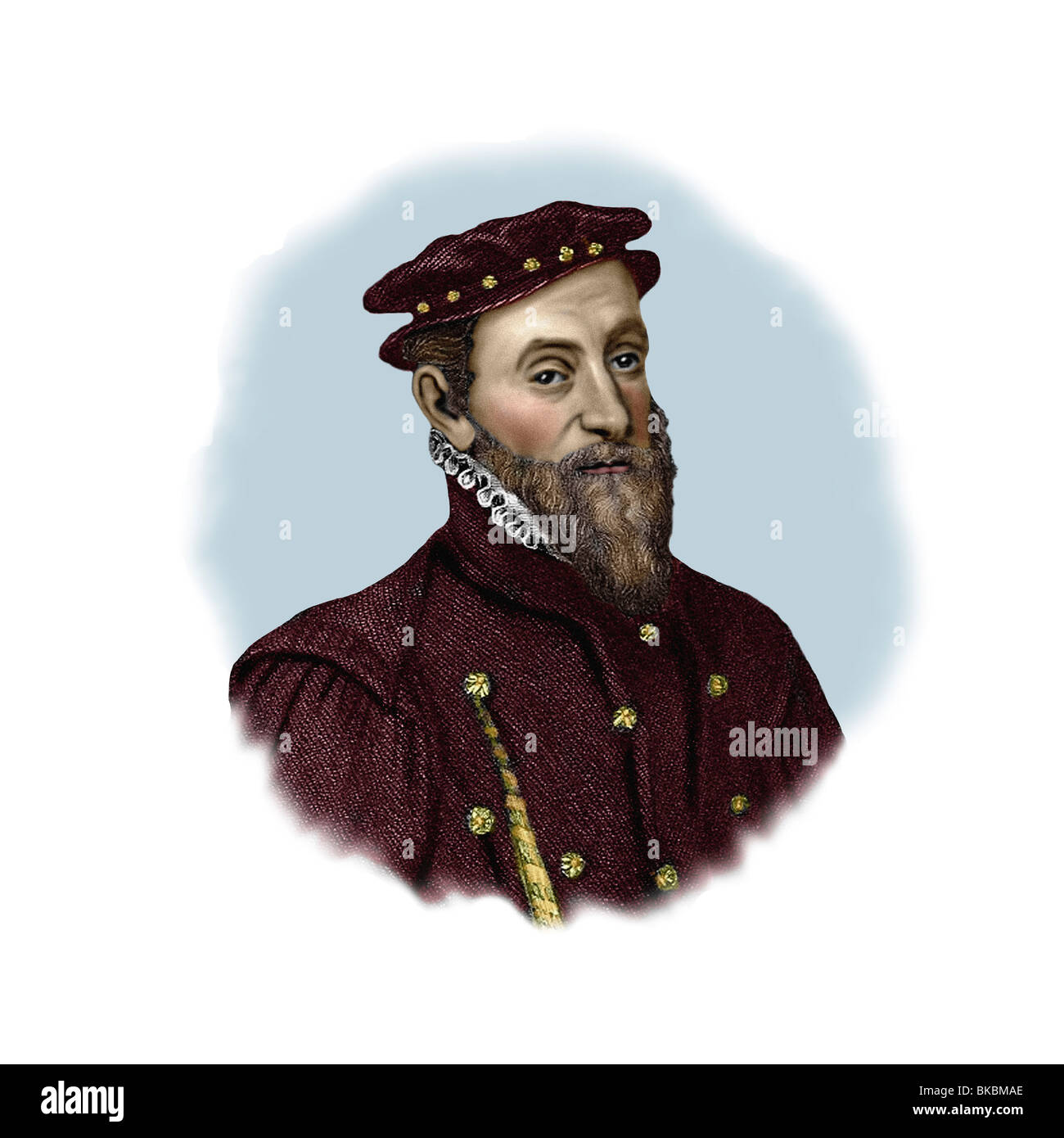 Thomas Gresham 1519 1579 English Financier Philanthropist Modern Vignette from an Engraving Stock Photo