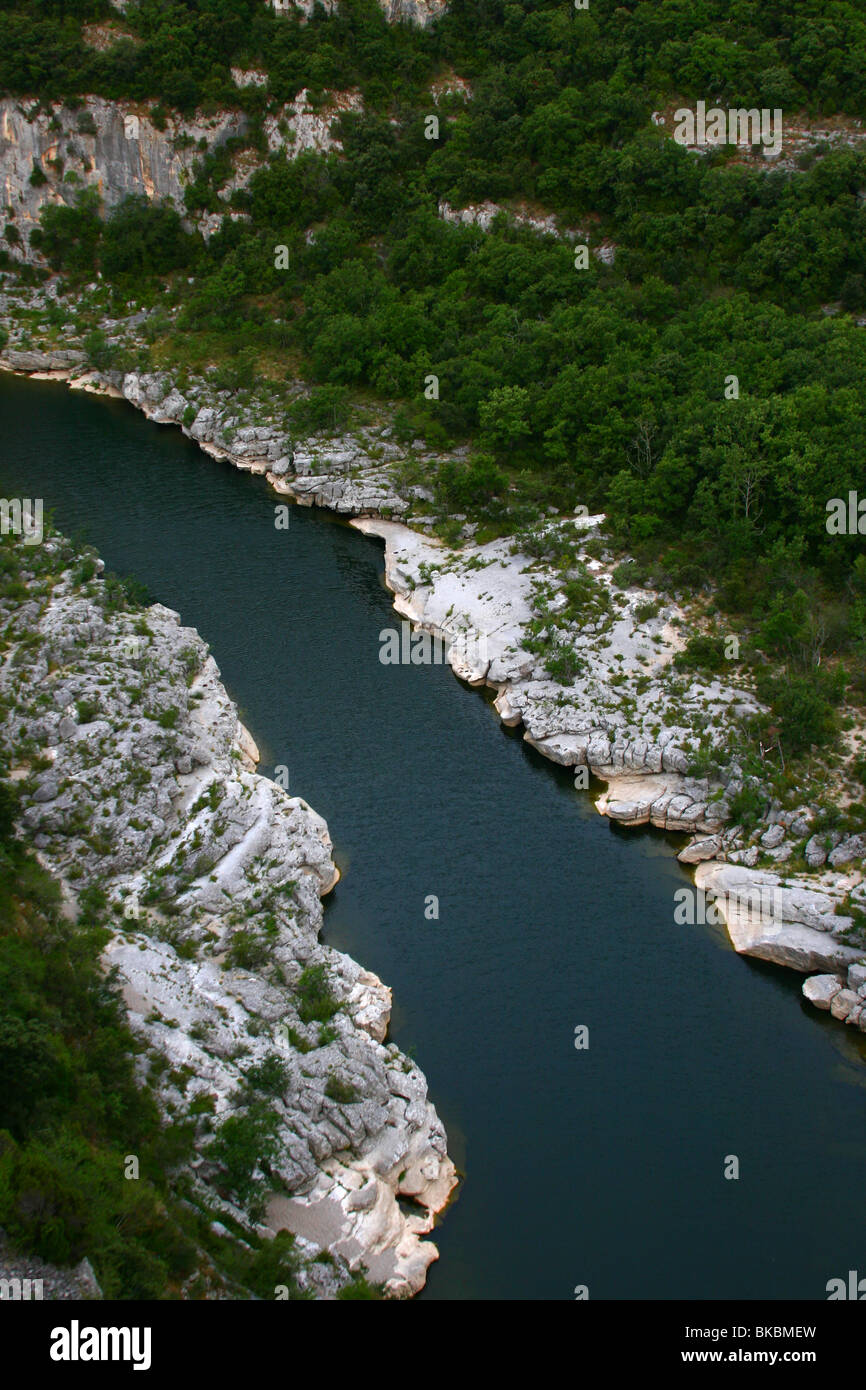 Ardeche Canyon in nature park in France Alps - Stock Image