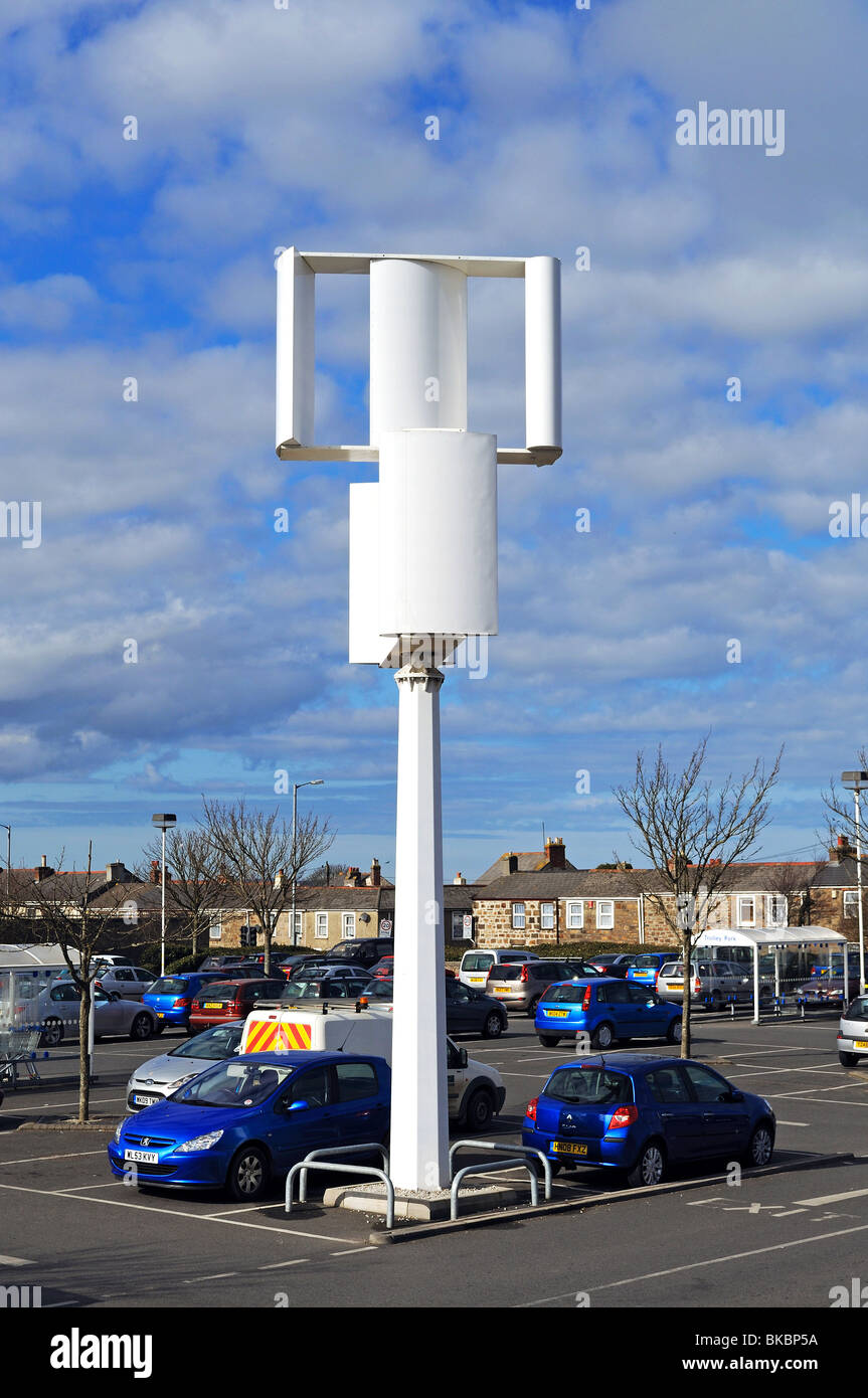 a wind turbine in the car park at tesco store in camborne, cornwall, uk - Stock Image