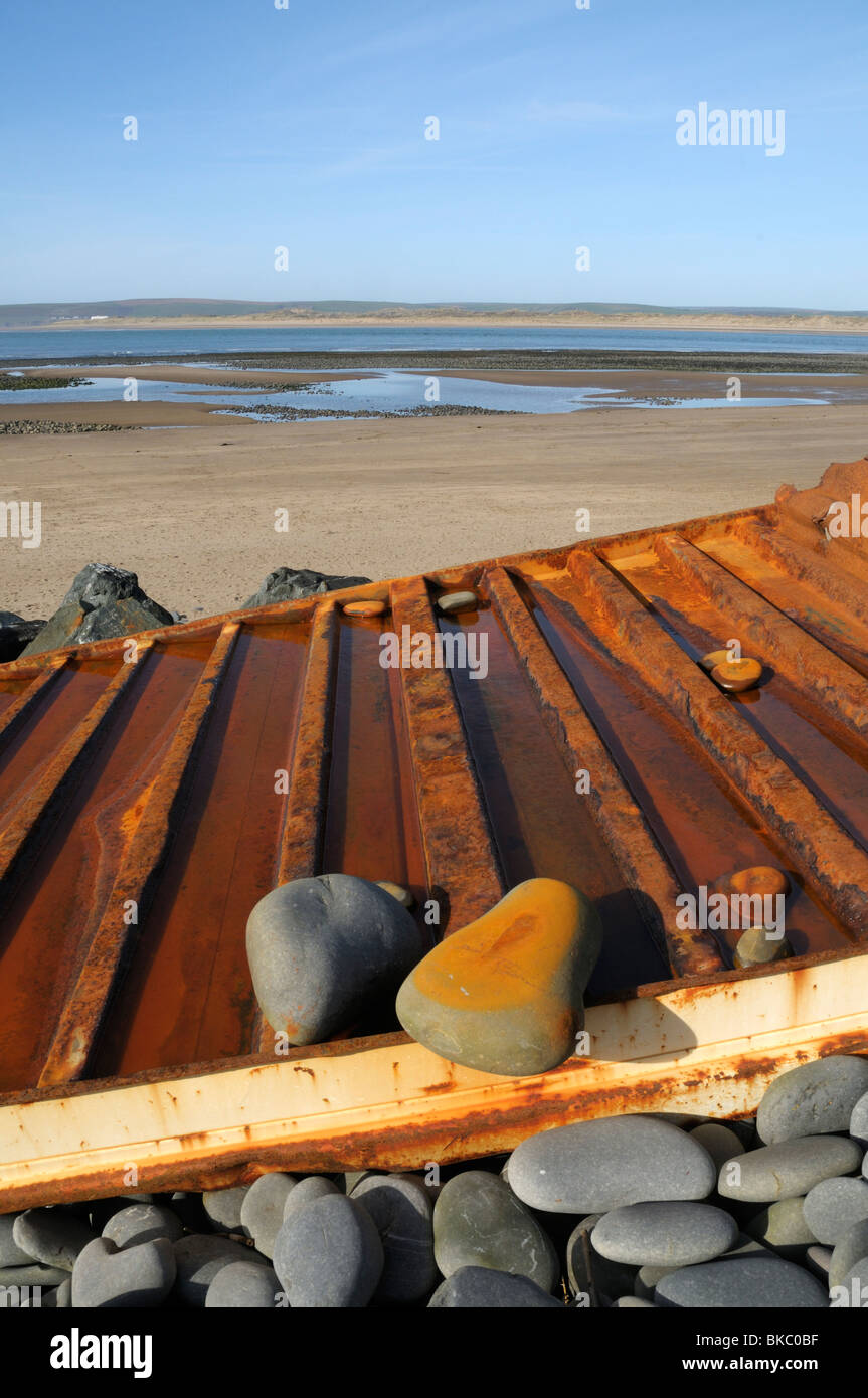 Panel from a container washed ashore at Northam Burrows, Near Bideford, North Devon, UK - Stock Image