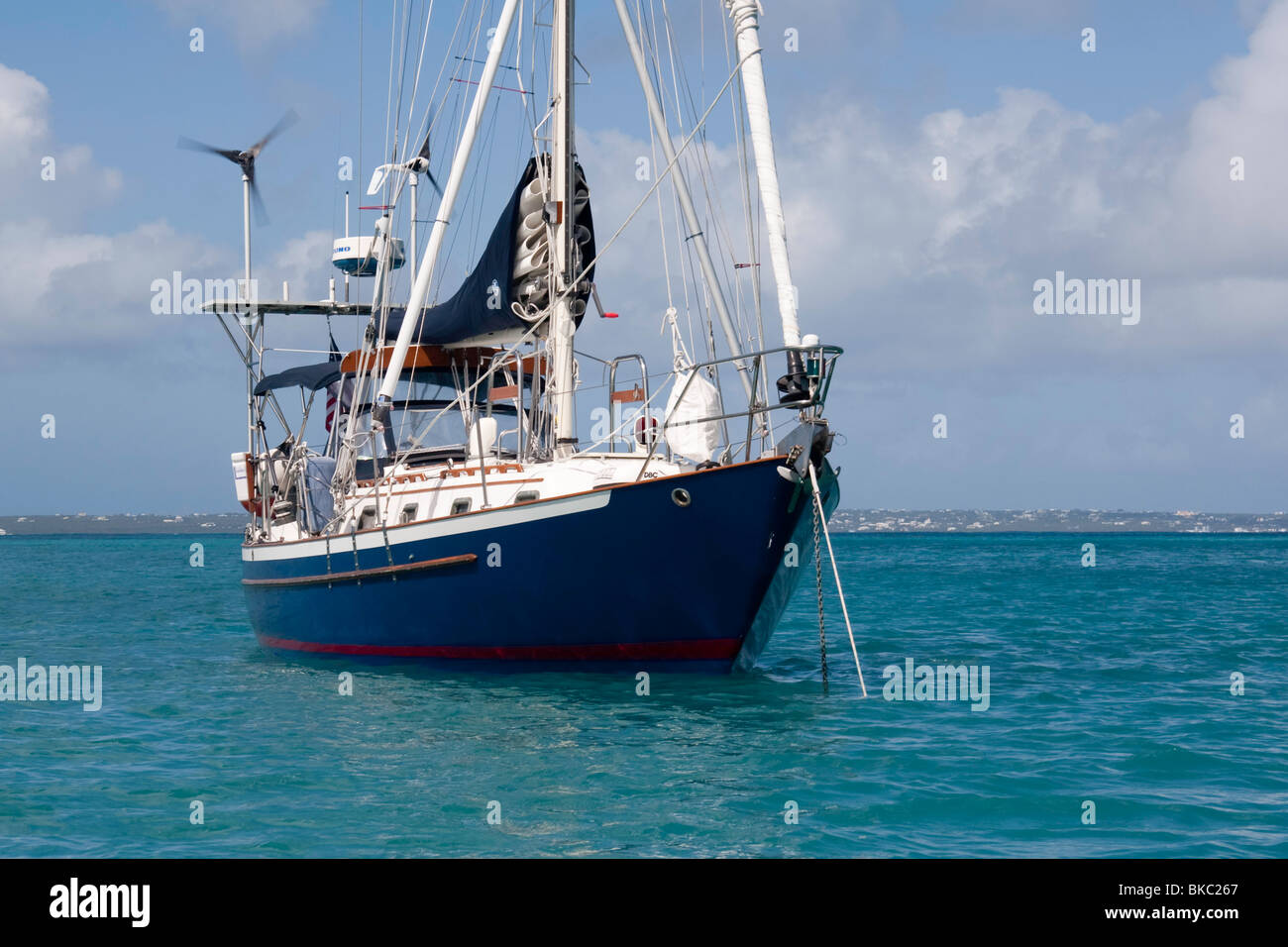 Crealock 34 LORD'S PRAYER Anchored at Anse Marcel, Saint Martin - Stock Image