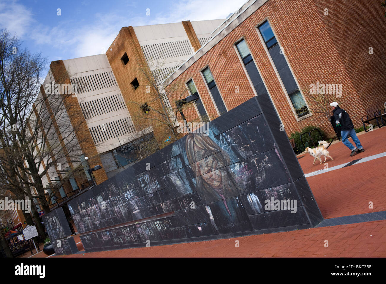 Community Chalkboard and Podium, monument to First Amendment, Downtown Mall, Charlottesville, Virginia - Stock Image