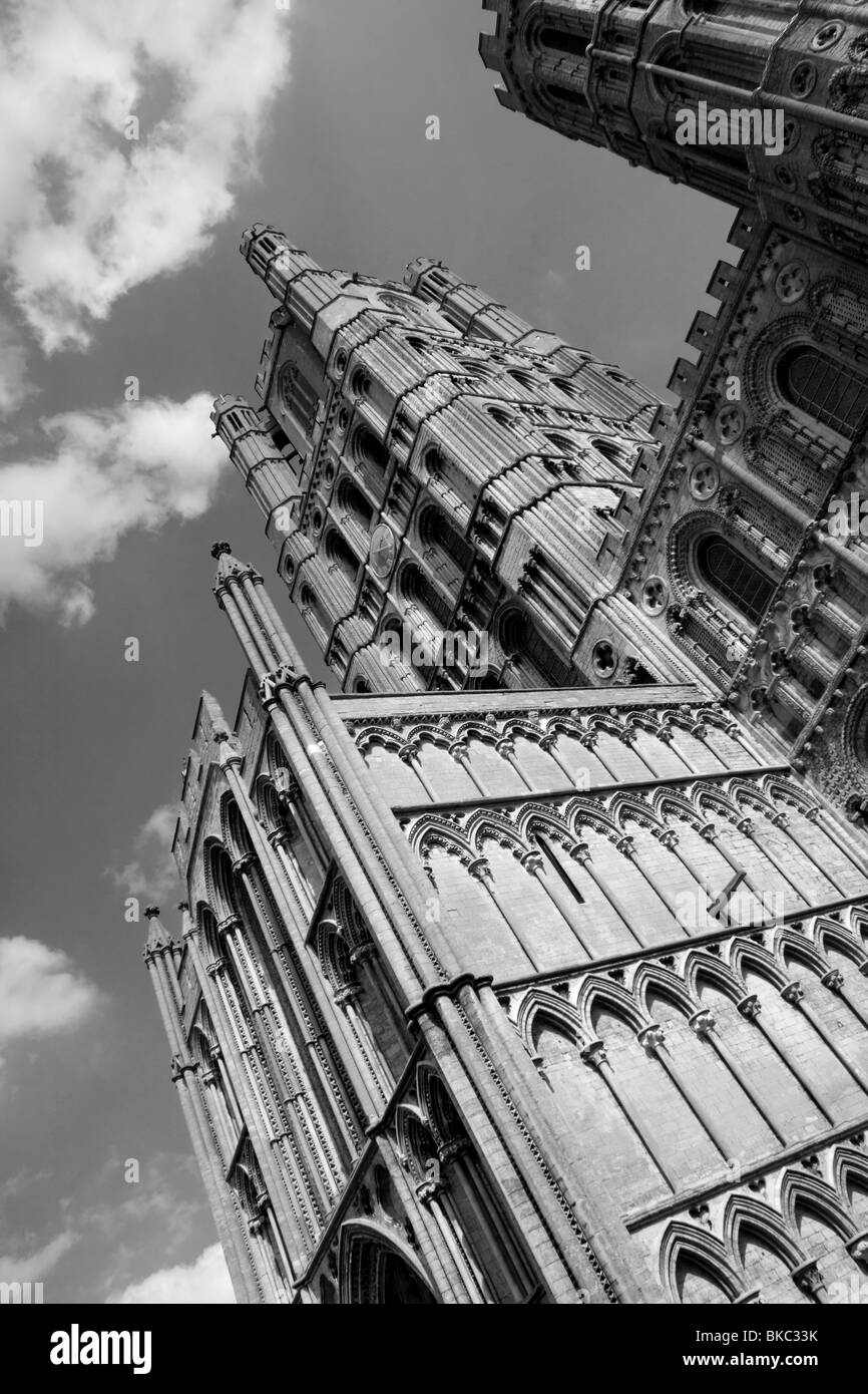 The West Tower and facade of Ely Cathedral, Cambridgeshire, England - Stock Image