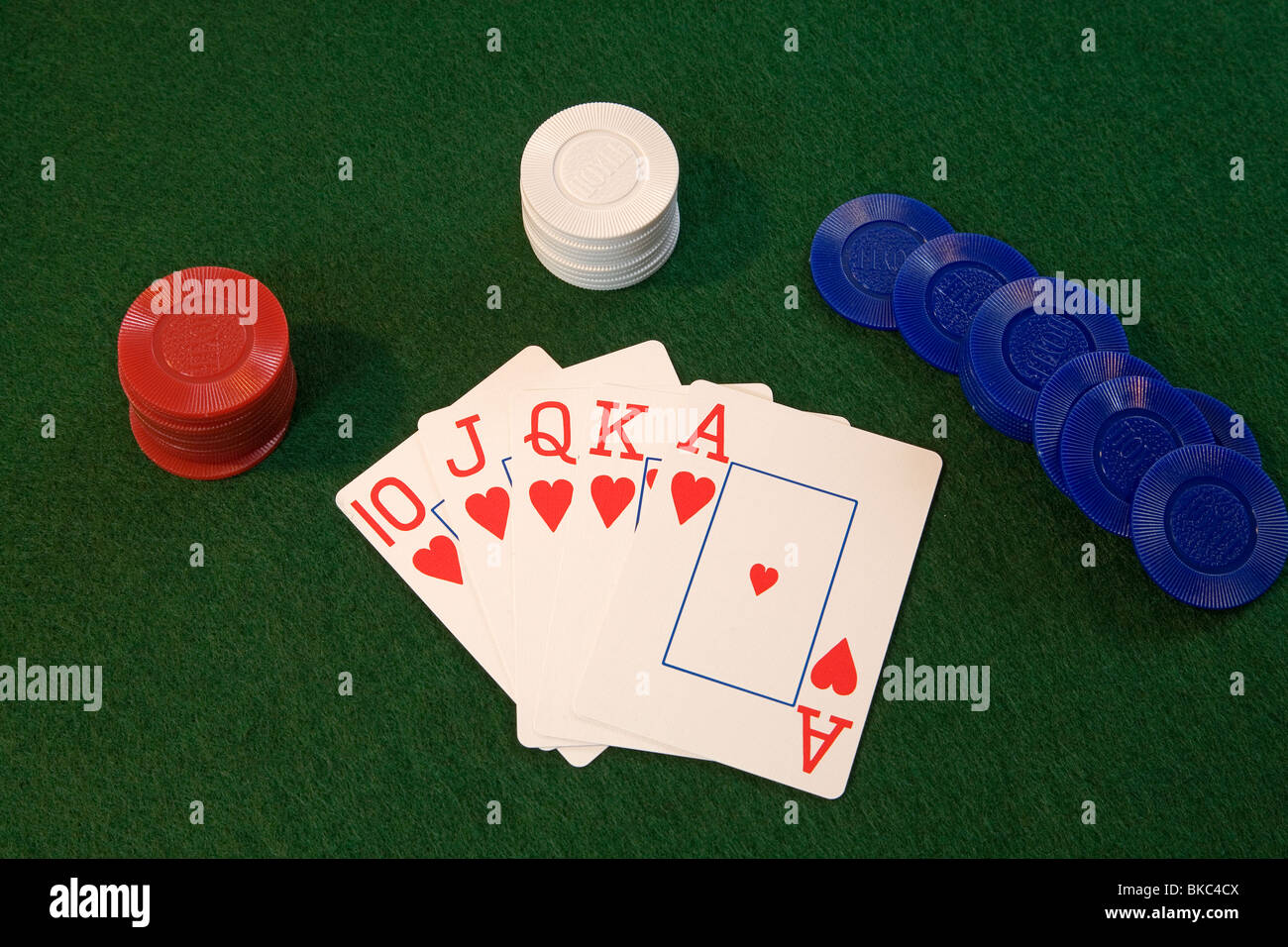 A Heart Royal Flush Of Hearts Hand In Five Card Draw Or Stud
