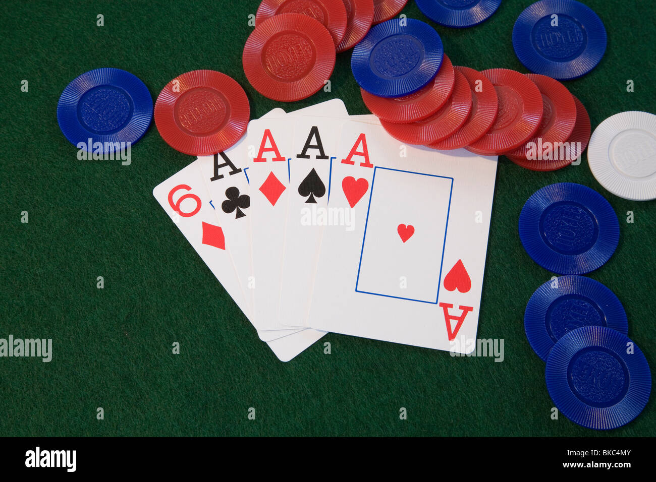 Four aces poker hand in five card draw or stud poker - Stock Image