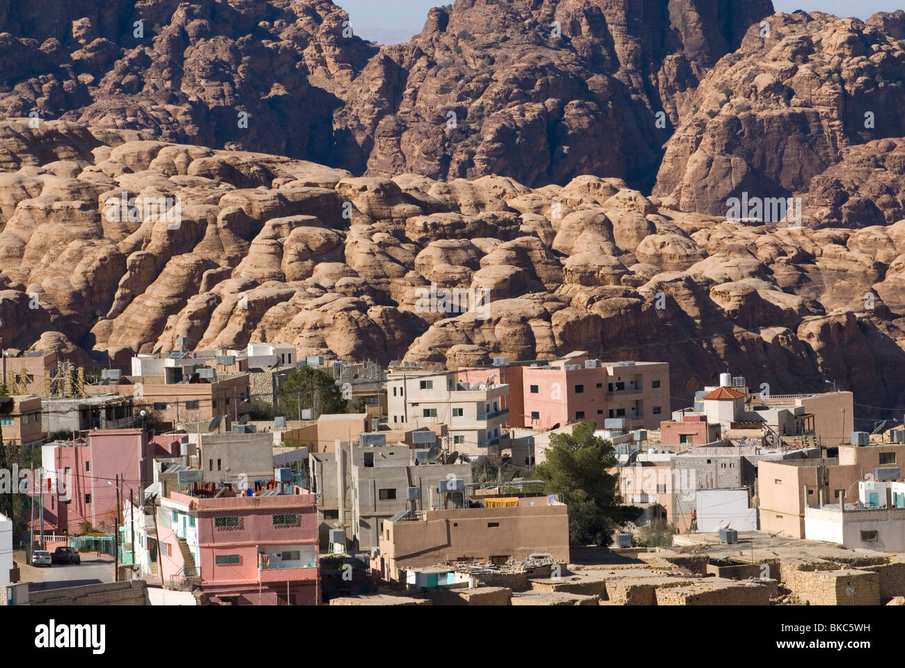The village of Wadi Musa, close to the archaeological site of Petra. Jordan. - Stock Image