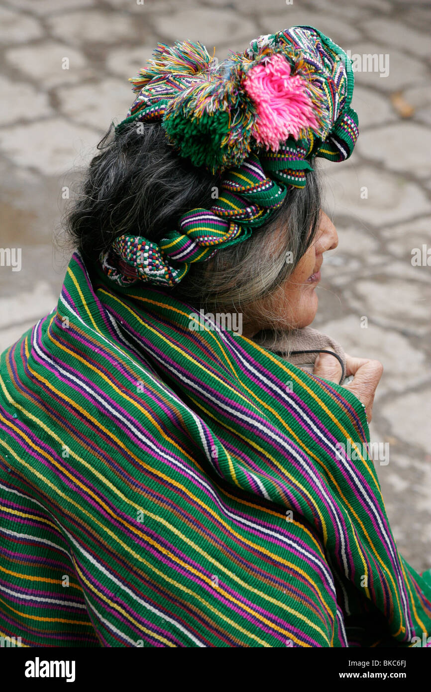 Ixil Maya woman dressed in traditional clothes at the market in Nebaj, Guatemala, Central America - Stock Image