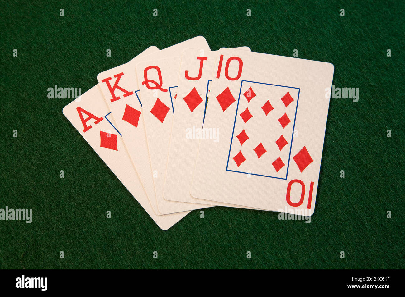 A diamond royal flush poker hand in five card draw or stud poker - Stock Image