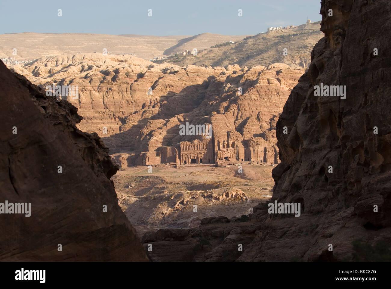 Vista  between rocks on the Royal Tombs in Petra. Jordan Stock Photo