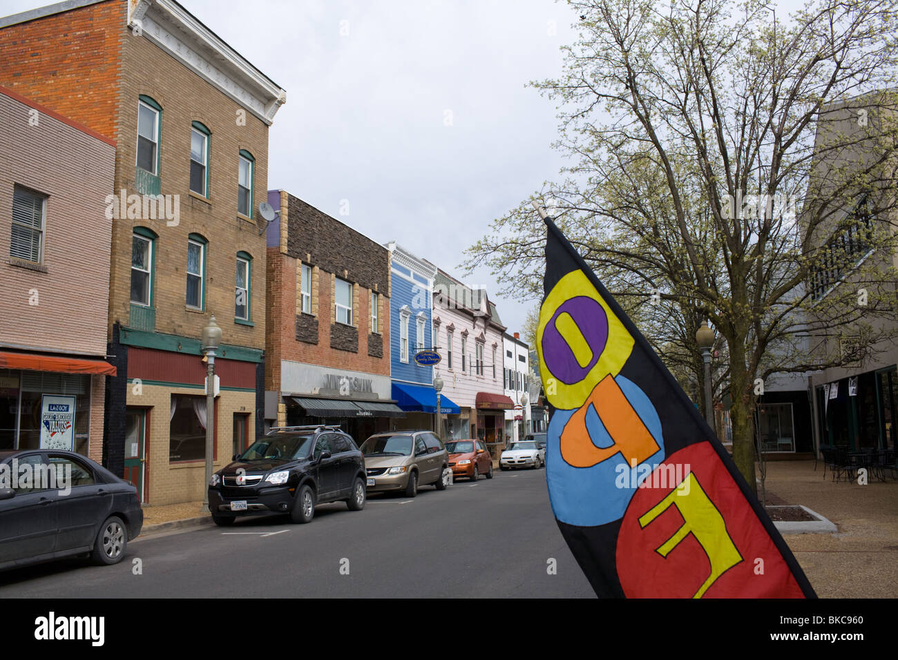 Business district of Front Royal, Virginia, gateway to Blue Ridge Mountains and Shenandoah Valley - Stock Image