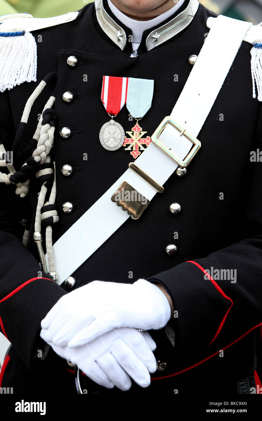An Italian Police Officer in Ceremonial dress - Stock Image