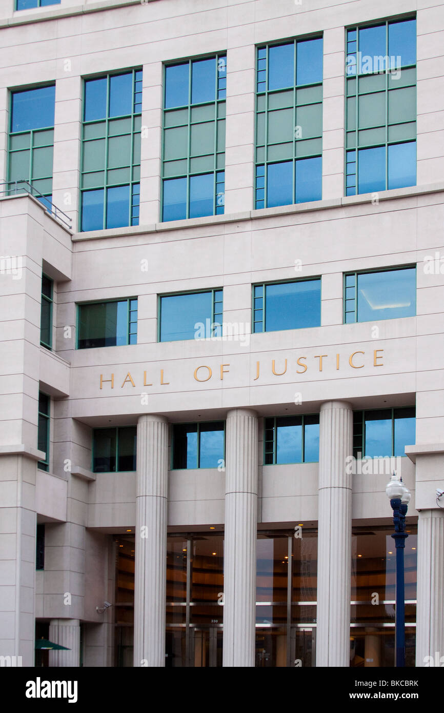 Front of the Hall of Justice building in downtown San Diego - Stock Image