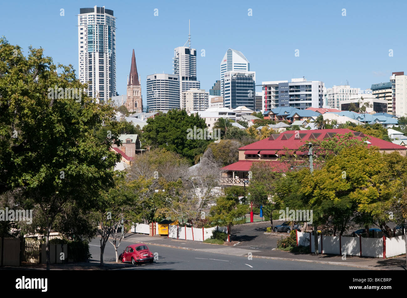 View of Brisbane City from Gregory Terrace, Brisbane, Queensland, Australia - Stock Image
