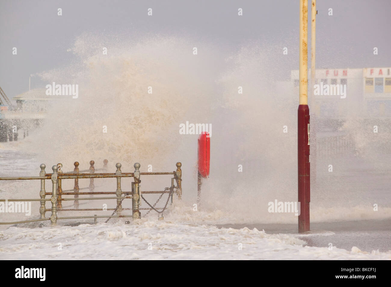 Blackpool being battered by storms on the 18th January 2007 that killed 13 people across the UK in the hurricane Stock Photo