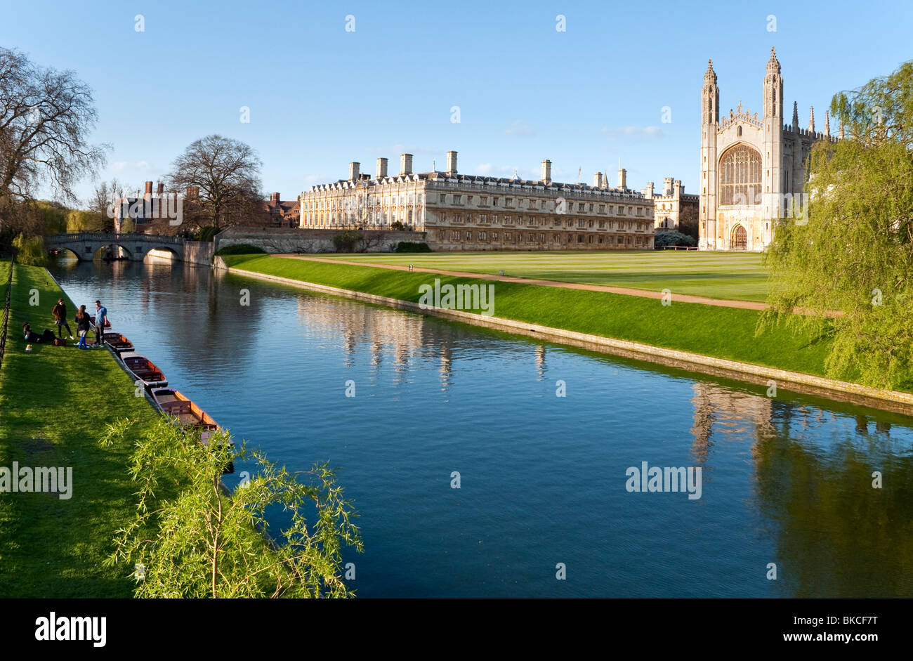 The River Cam with Clare college and Kings' College Cambridge in the shot - Stock Image