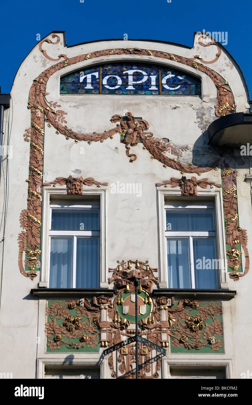 detail of facade of Topic (Topich) printing house, Narodni Trida, Prague, Czech Republic - Stock Image