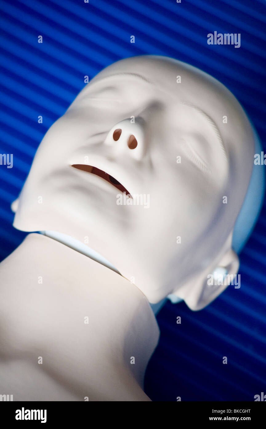 Dummy used to practice artificial respiration on. - Stock Image