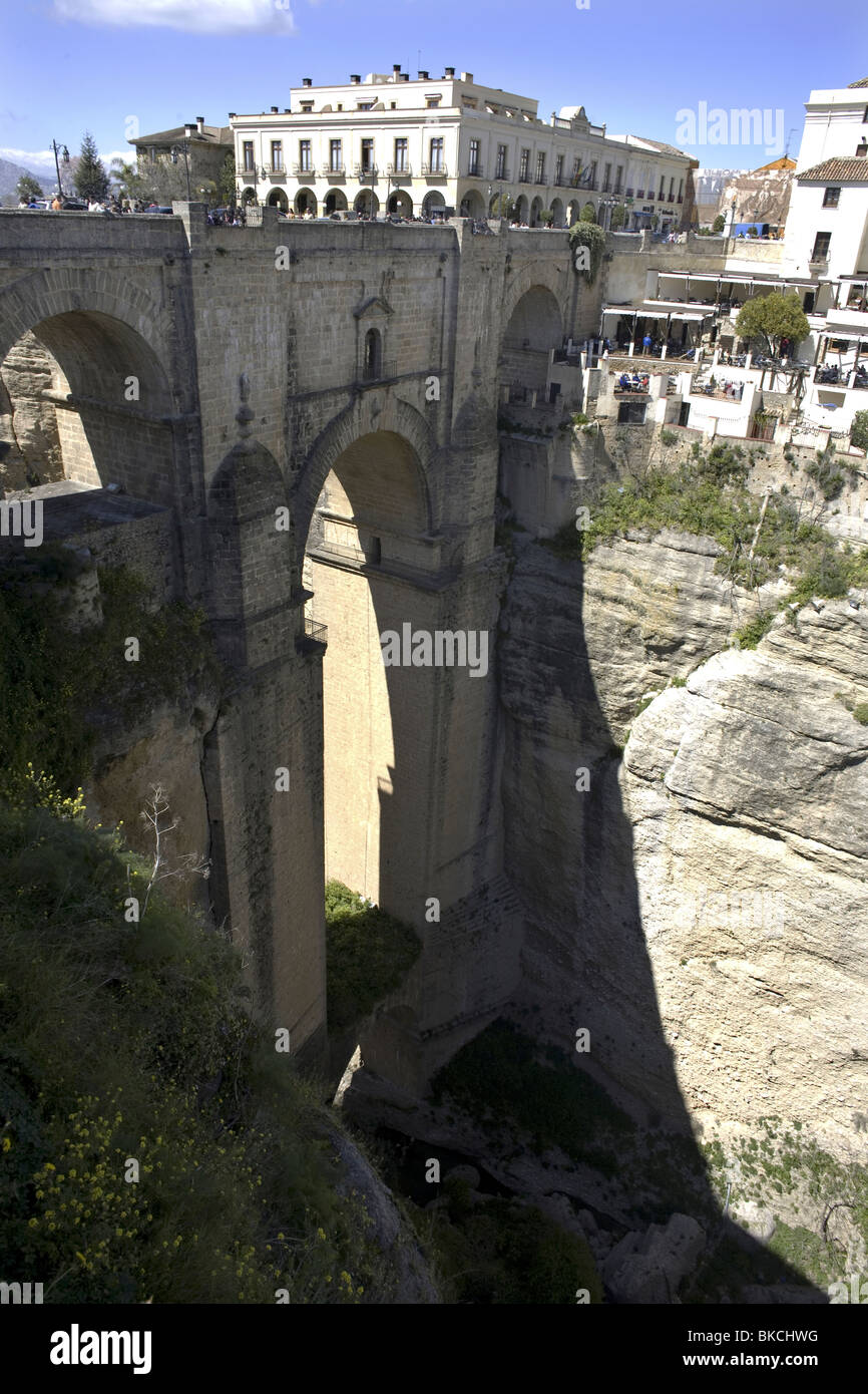 A view of the New Bridge over the Canyon of Ronda, Malaga Province, Spain, March 22, 2008. Photo/Chico Sanchez Stock Photo