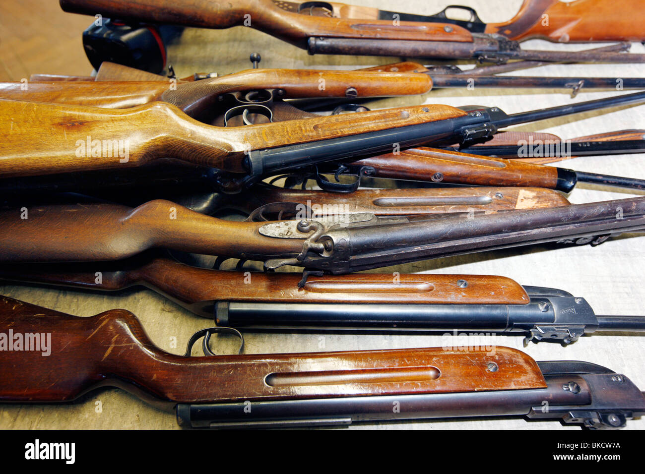 illegal and legal weapons and munition. The weapons are collect and destroyed at the LZPD in Germany Stock Photo