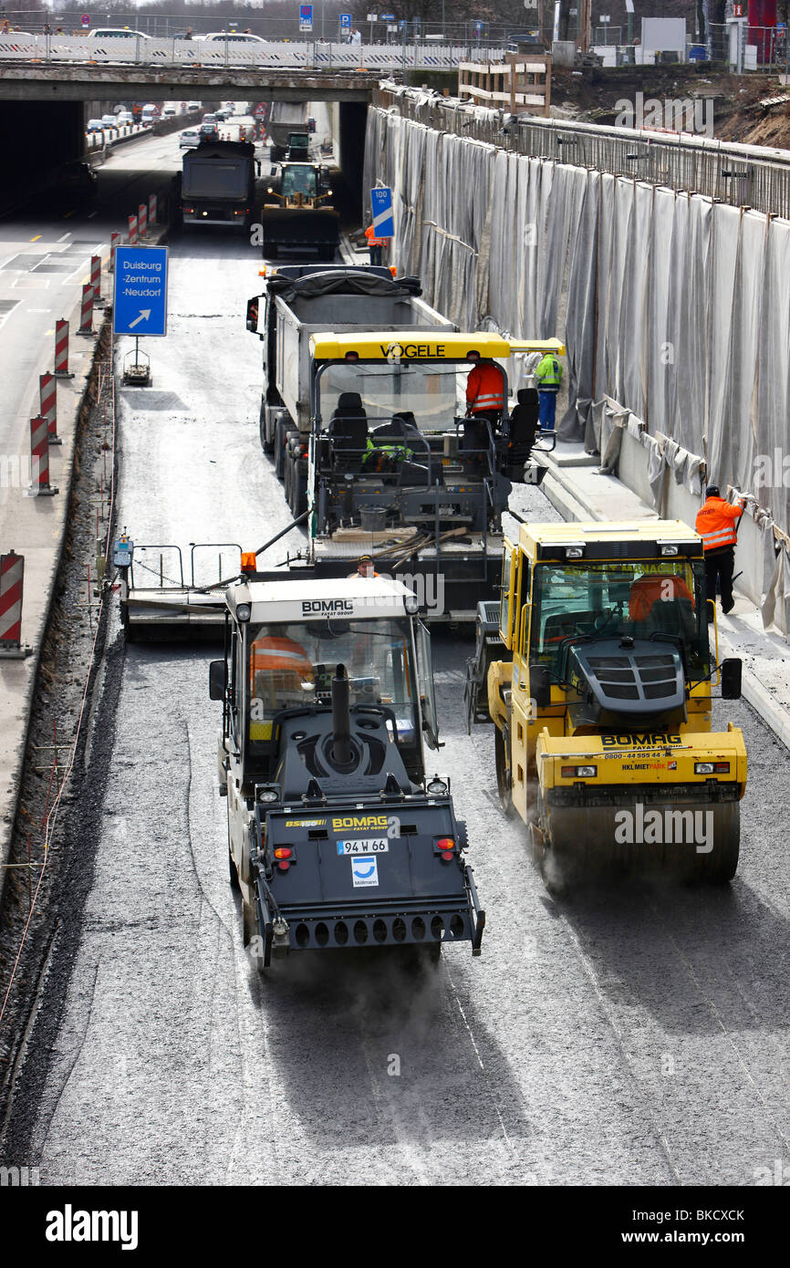 construction area on the motorway A59, Duisburg, NRW, Germany, Europe Stock Photo